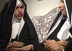 A vulgar nun stimulated by an fuckfest hither a t-girl
