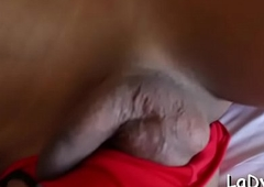 Lady-man slut acquires assfuck on the back burner